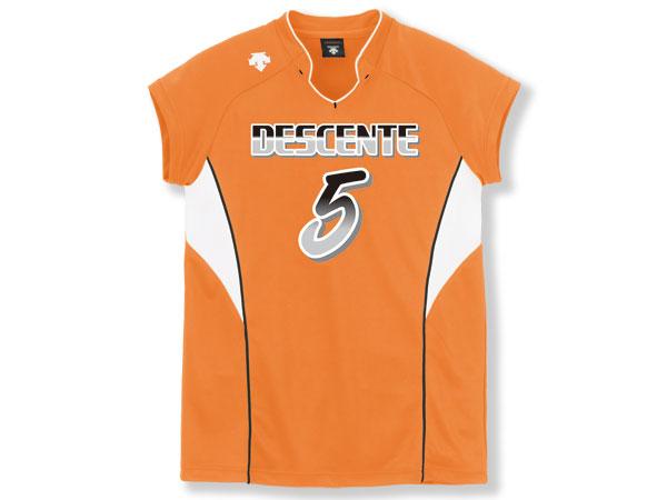 DESCENTE フレンチスリーブゲームシャツ (バレーボール ゲームウェアー メンズゲームシャツ)Fオレンジ×ホワイト(FORG)【スポーツ用品 > チーム スポーツ > バレーボール】【DESCENTE/デサント】/DSS-4833