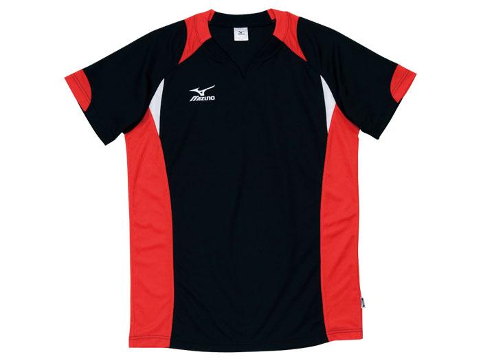 MIZUNO バレーゲームシャツ (バレーボール ゲームウェアー メンズゲームシャツ)ブラック×レッド(96)【スポーツ用品 > チーム スポーツ > バレーボール】【MIZUNO/ミズノ】/59HV324